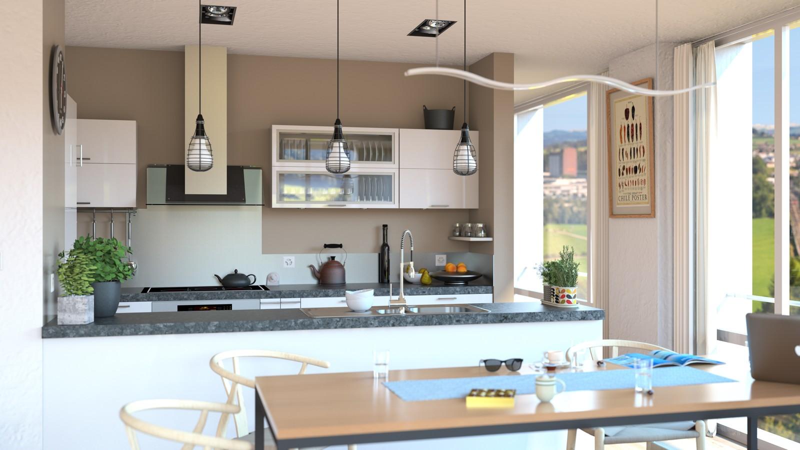 SketchUp + Thea Render Apartment model 03 v2019-Scene 34 Day V2 HD3000 x 5333 PrestoAO 1024 spx 54m06s