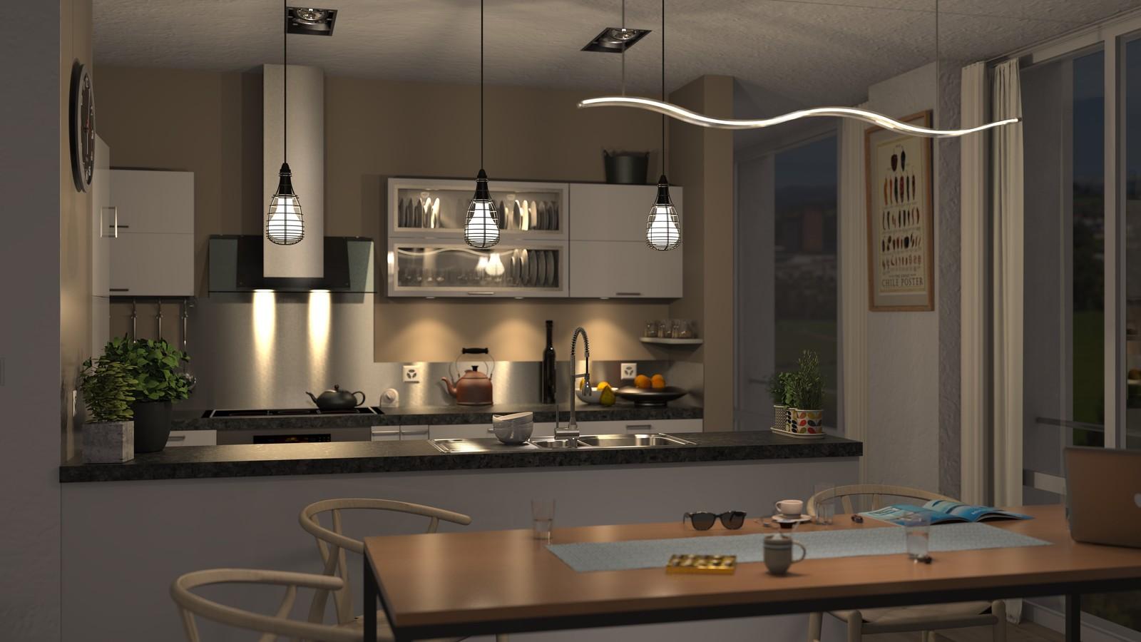 SketchUp + Thea Render Apartment model 03 v2019-Scene 34 NIght V2 HD3000 x 5333 PrestoAO 1024 spx 58m44s