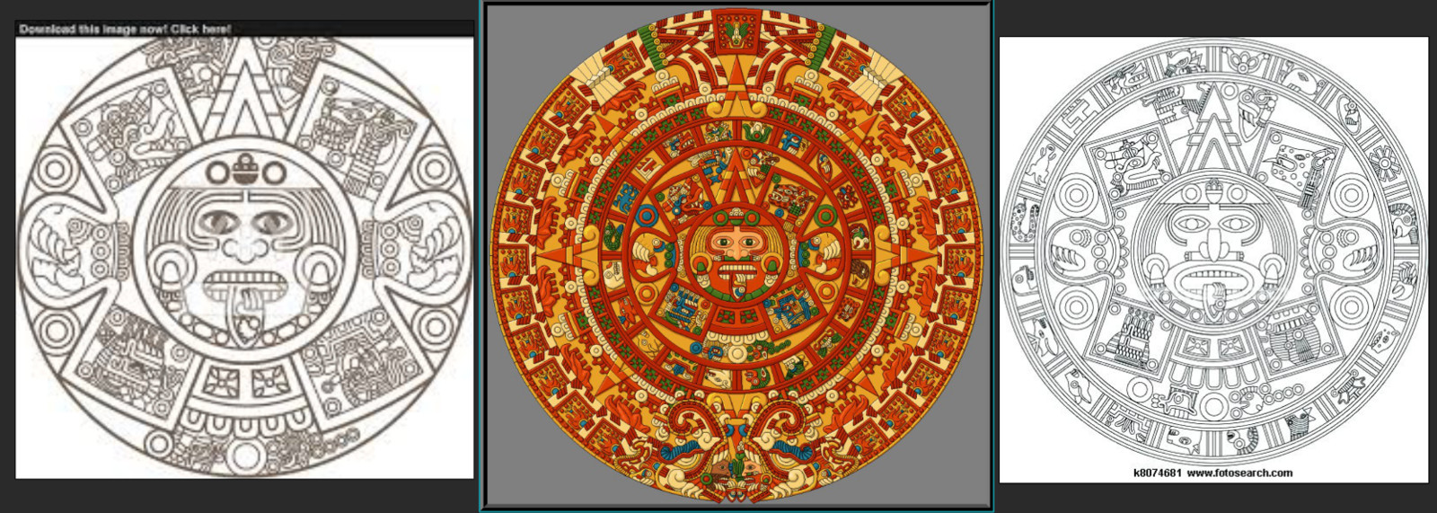 Theres Many illustrated version of the Aztec Sun Stone