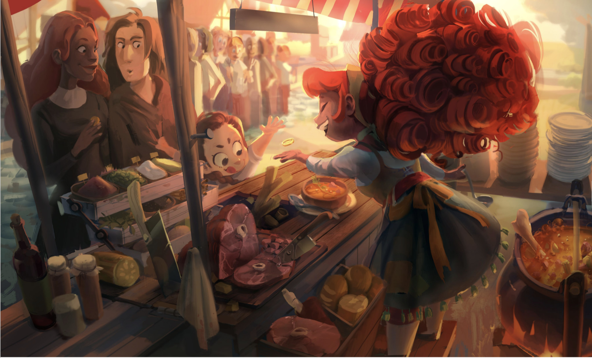 A fun scene painting of Tabby serving food behind her food cart.