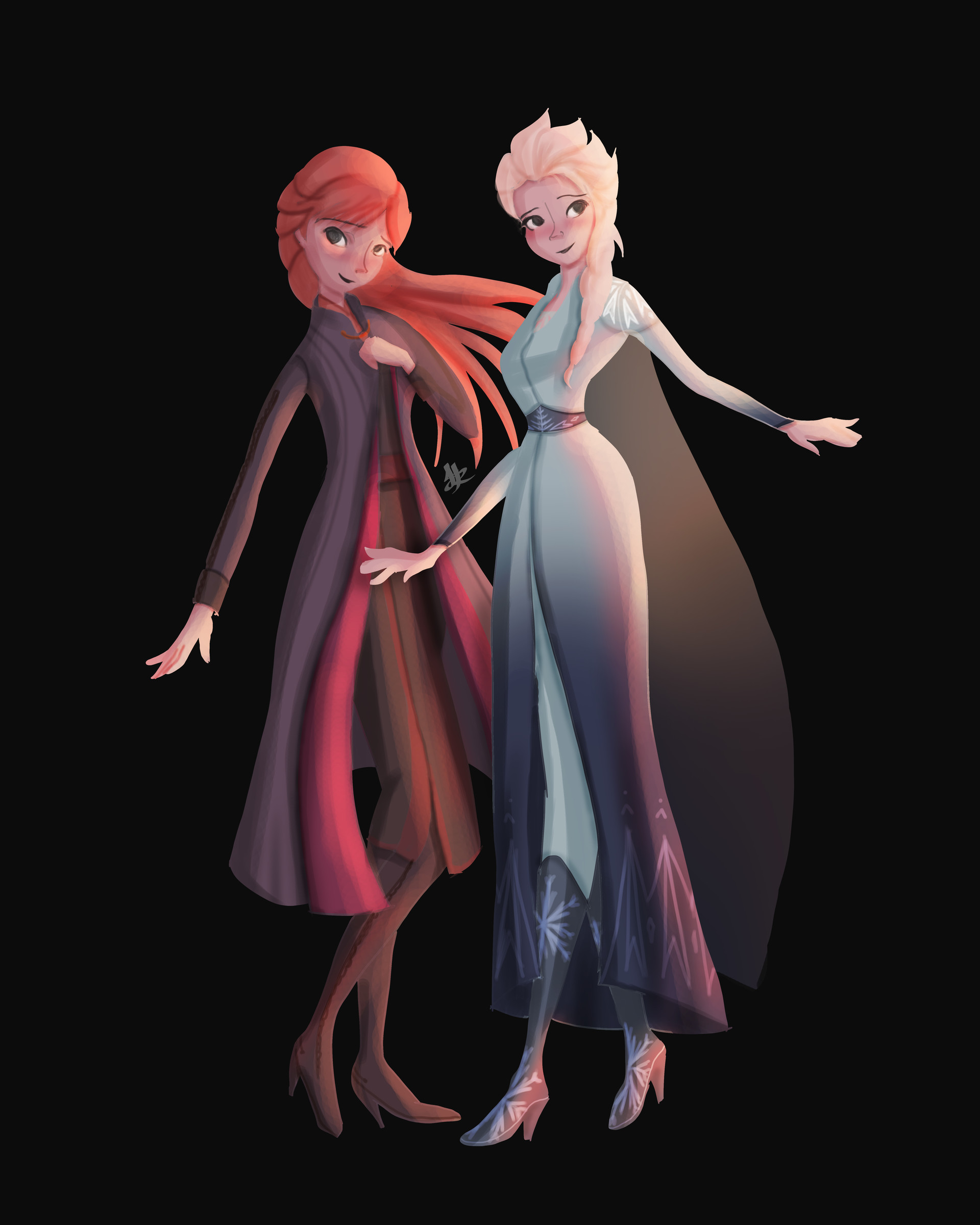 Frozen 2 character concept Elsa and Anna