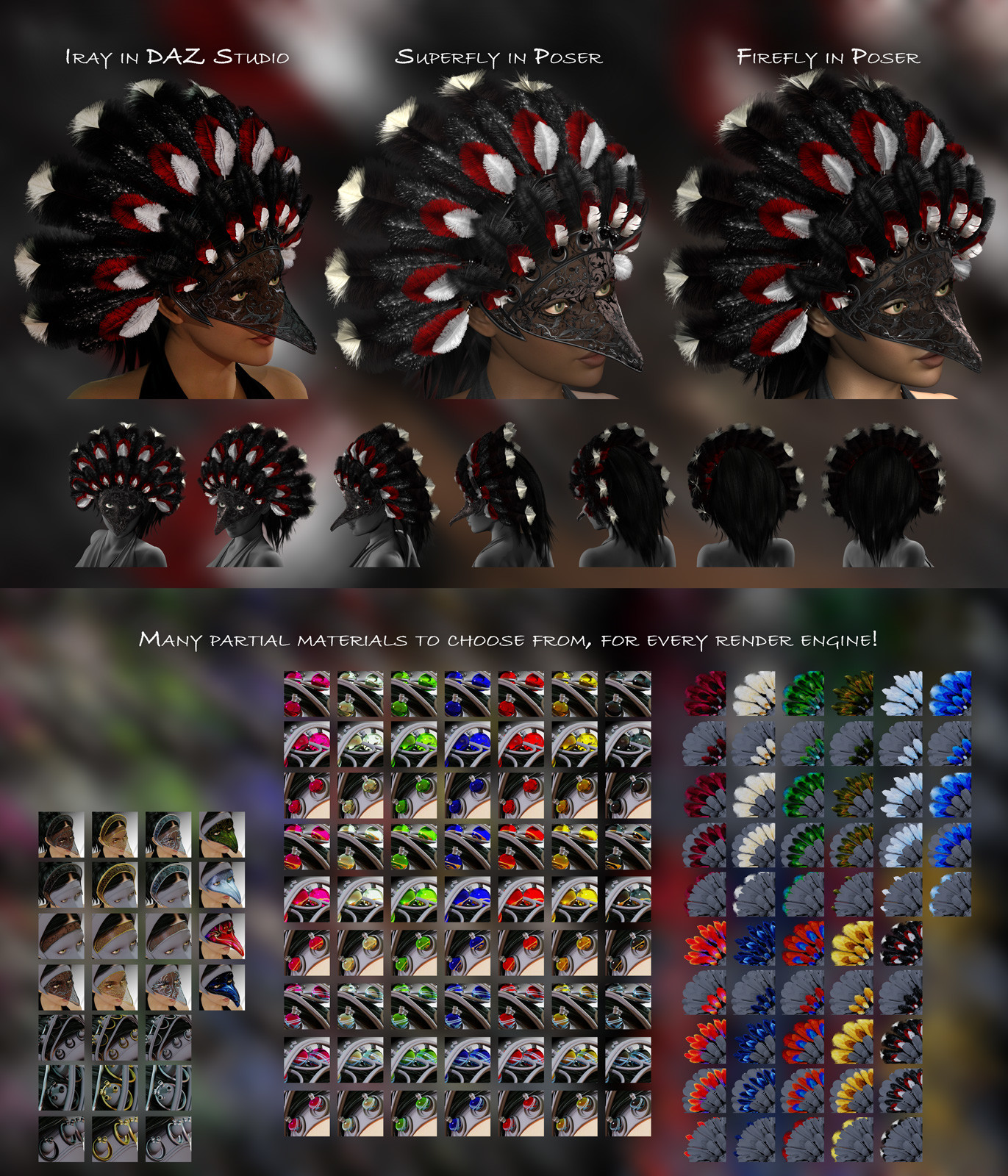 The eleventh and final set of textures, as well as examples of the different partial material settings that are included.  (DAZ Studio thumbnails are shown.)