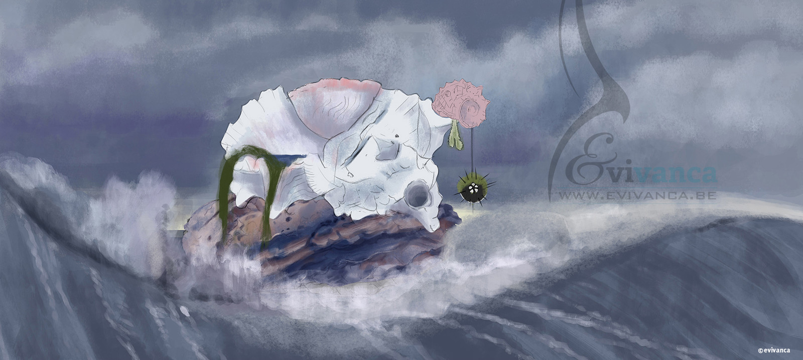 Concept art for calusa shell city  - situation during the flood