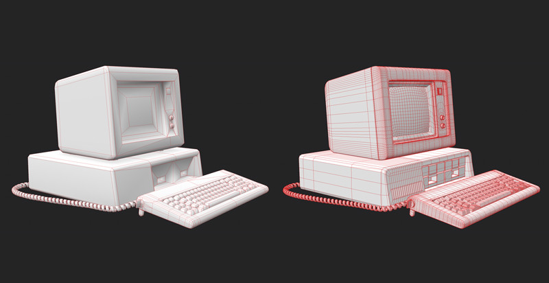 Low poly and high poly models. Modeled in Maya.