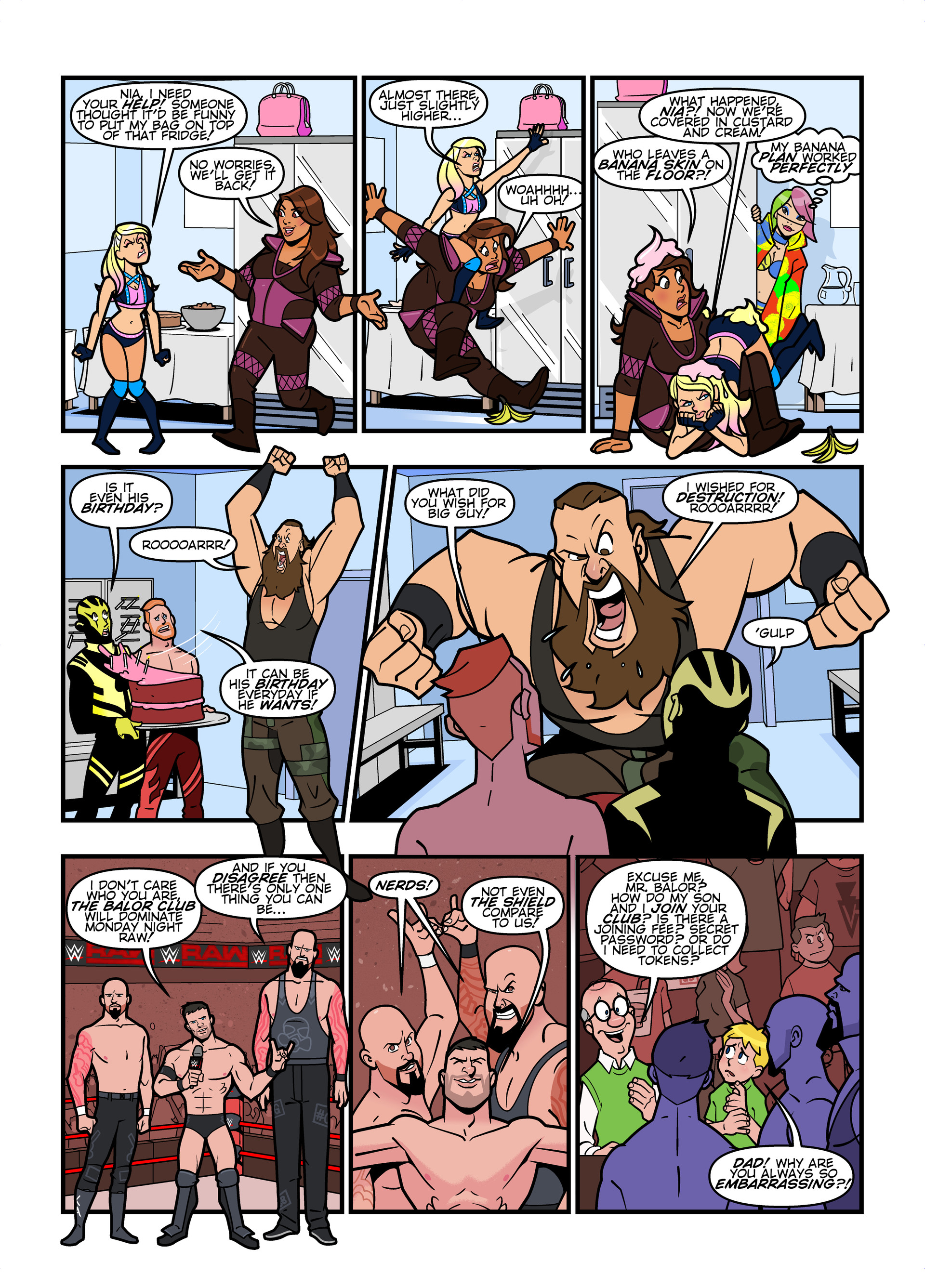WWE RAW comic strips for WWE Kids Magazine #134