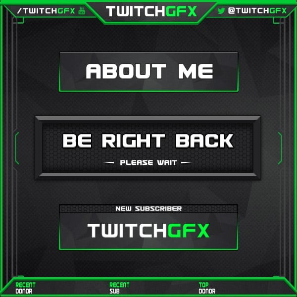 ArtStation - Green Twitch Overlay with animated screens