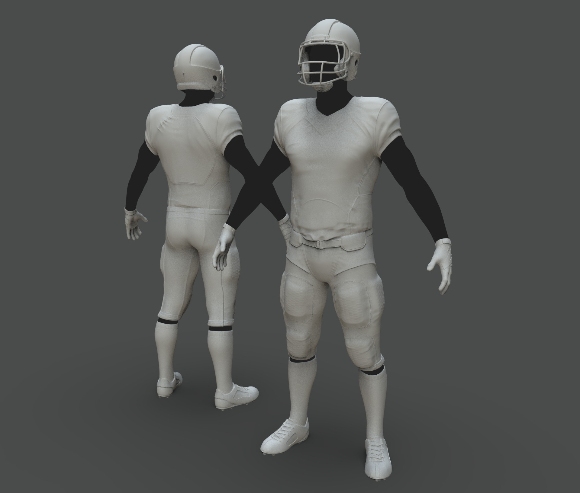 Clothing sculpt for our Pro Player characters (heads and skin texturing were done by another artist).