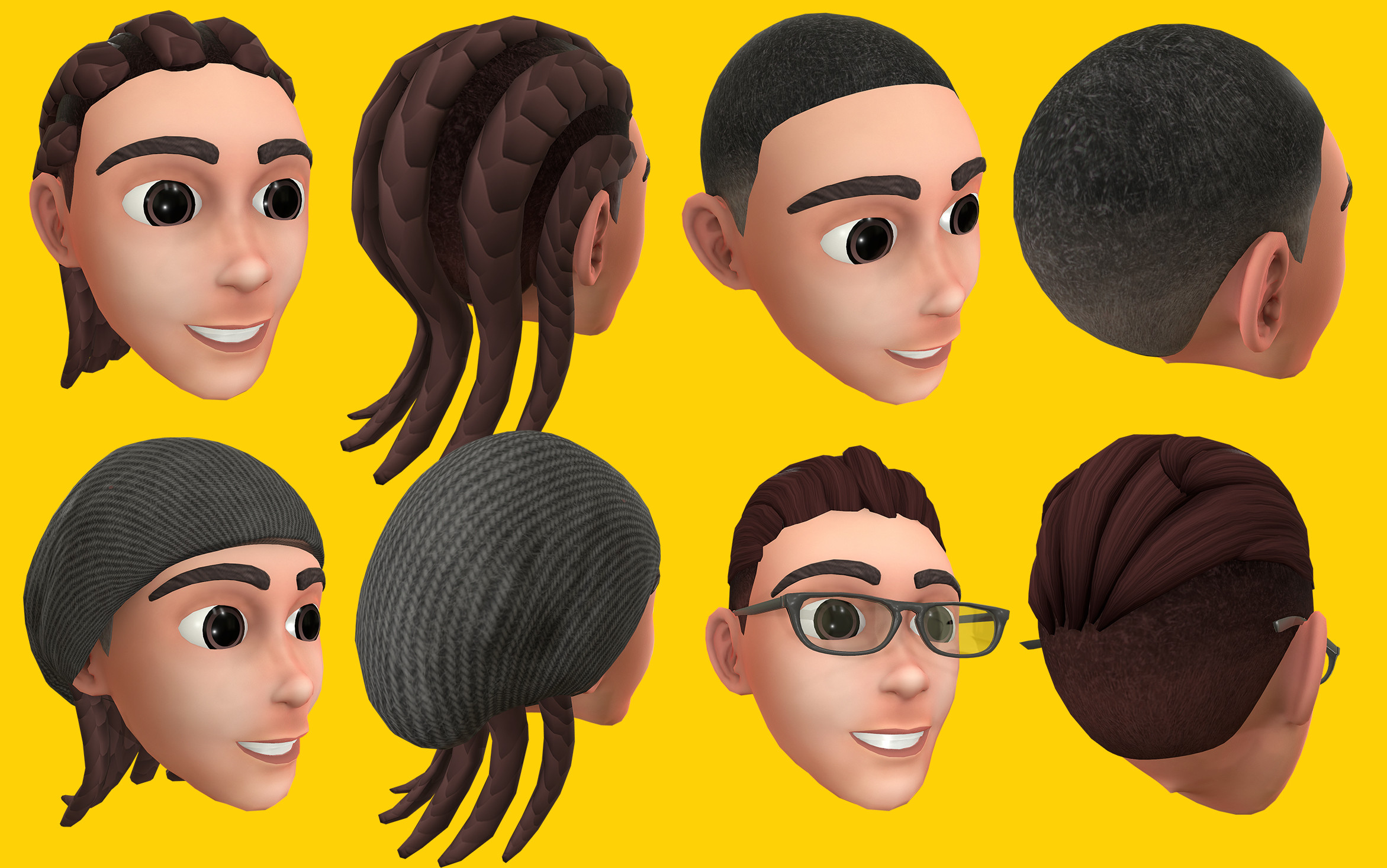Textured hair styles & accessories. Lead 3D Artist on hairstyles consistency and training. Modeling of hairs & wool-cap by Mark Lopez and Mert Suha Oner.