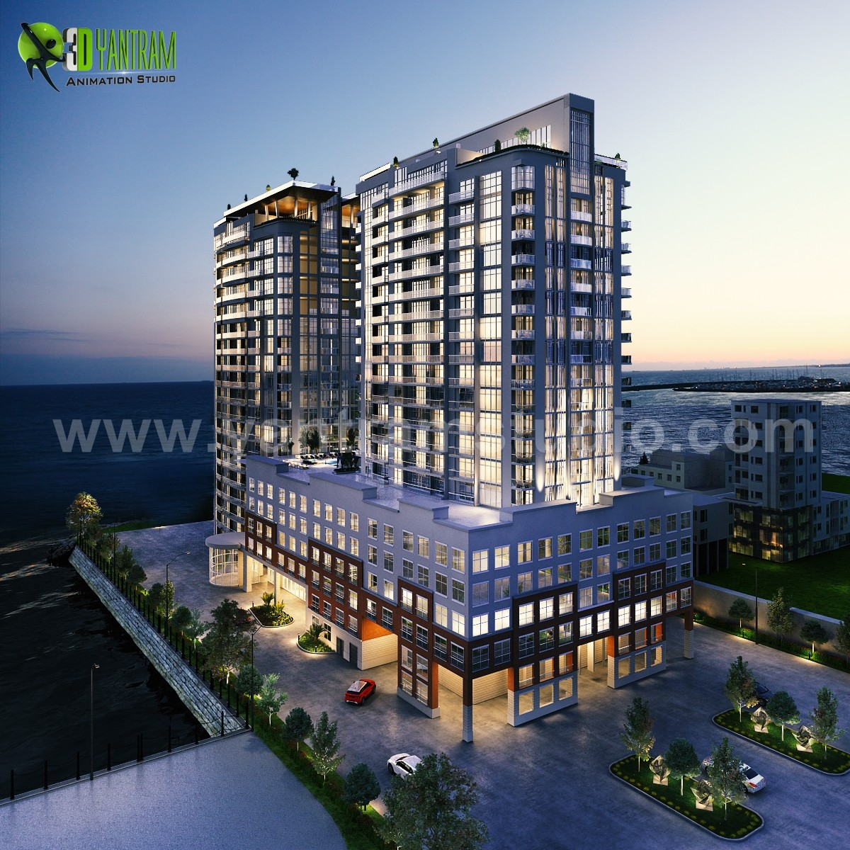 Exterior Of A New High Rise Luxury Building Developed By Yantram Architectural Design Studio