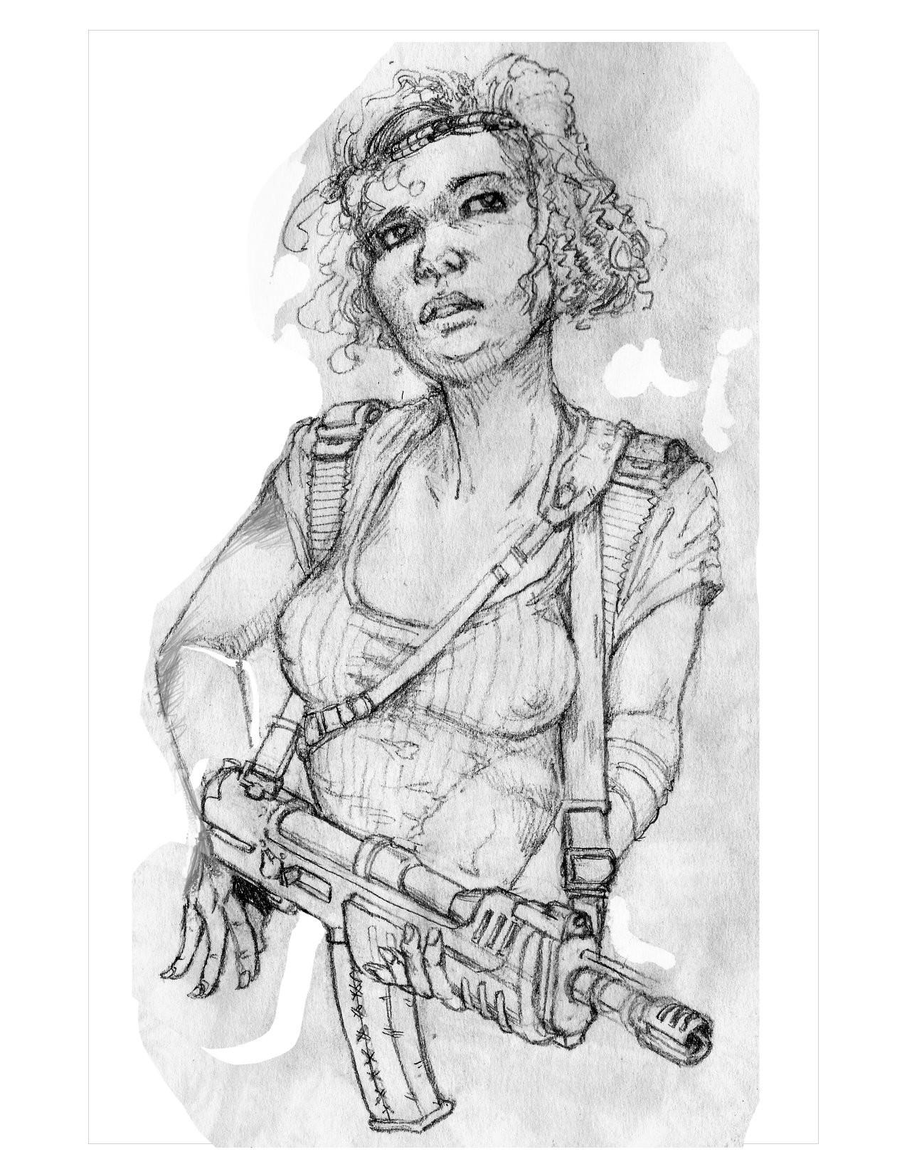 Adjusted Scanned Pencil sketch.