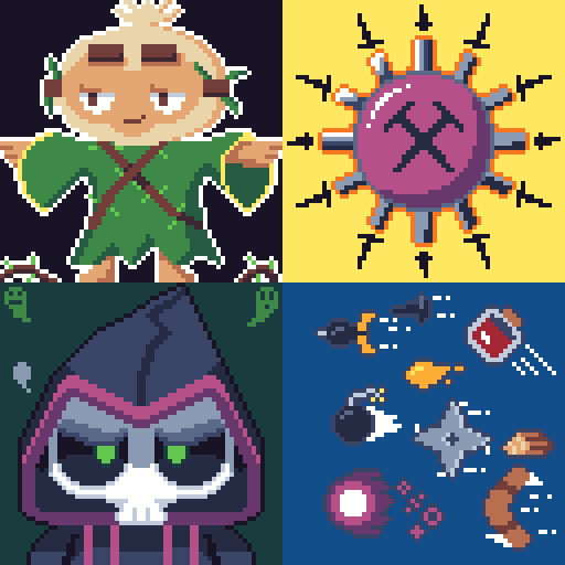 Clockwise from top-left: Druid of the Jungle, Tack Sprayer, Miscellaneous projectiles, The Prince of Darkness.