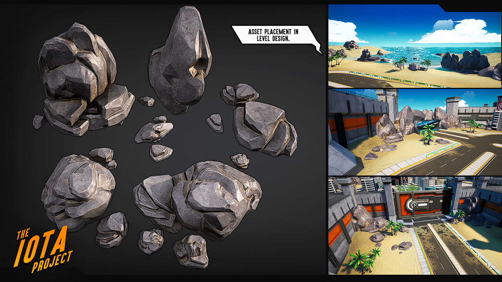 I created and helped produce many of the environmental assets such as the rocks and trees