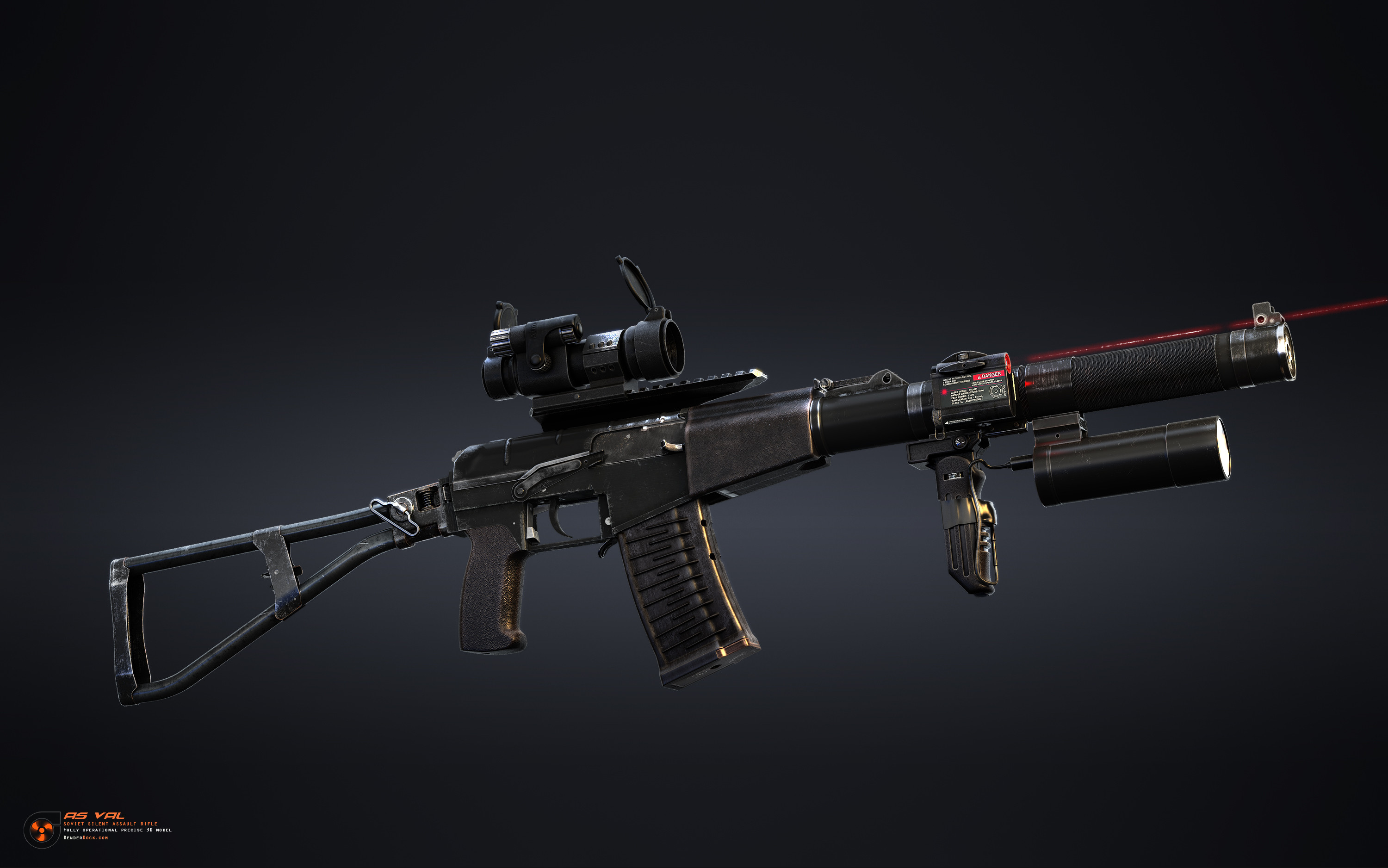 "AS Val is a silent assaut rifle, designed for russian special operation forces. It is based on VSS ""Vintorez"" construction with some minor changes"
