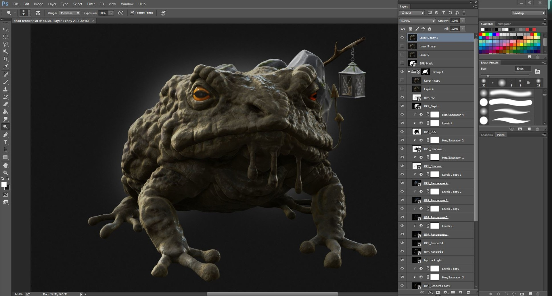 Render set-up in Photoshop showing a bit of my layer workflow