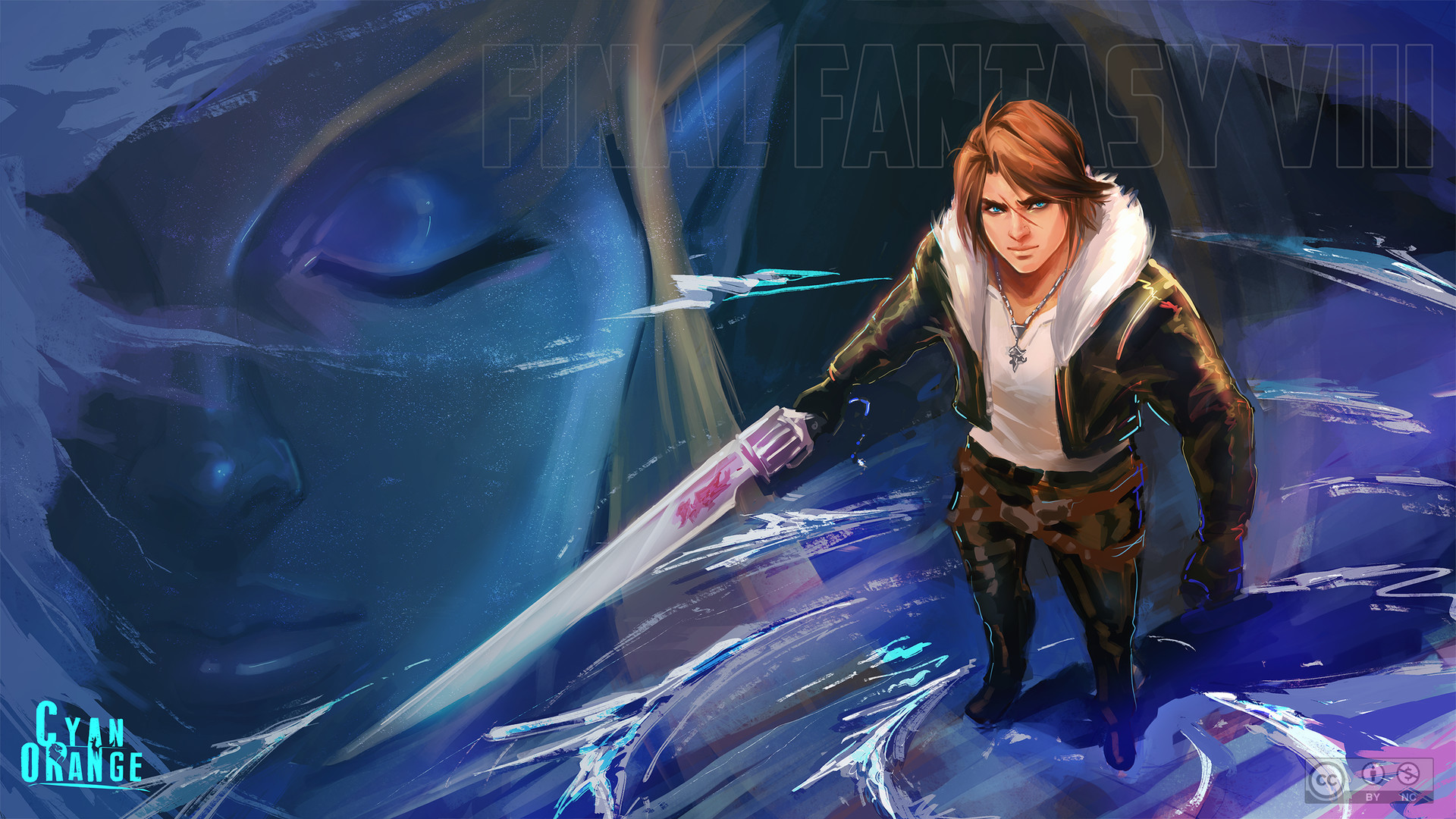 Artstation Squall Shiva Wallpaper Fanart Cyan Orange