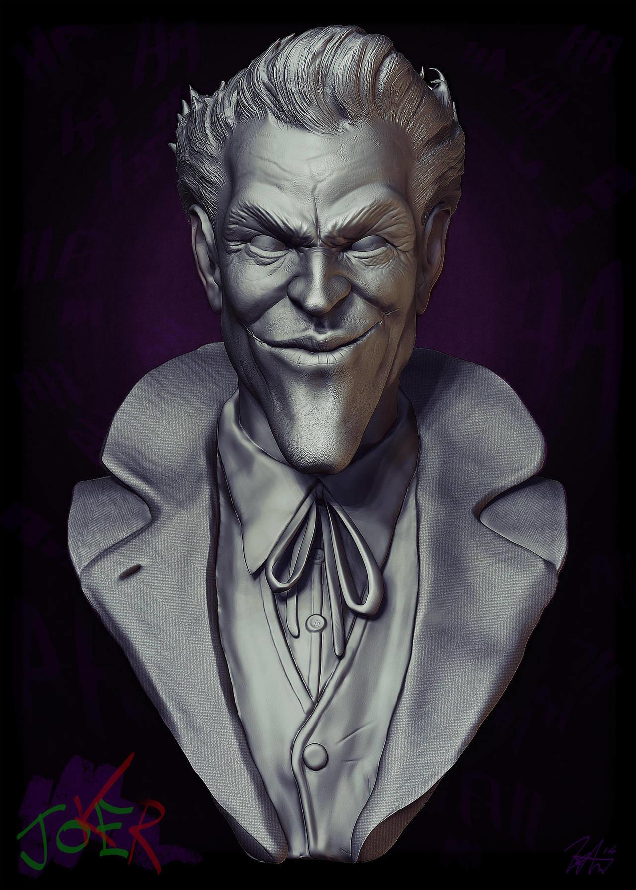 Liam golden joker bust sculpture clay render 2014 version by liamgolden d75sk6a fullview