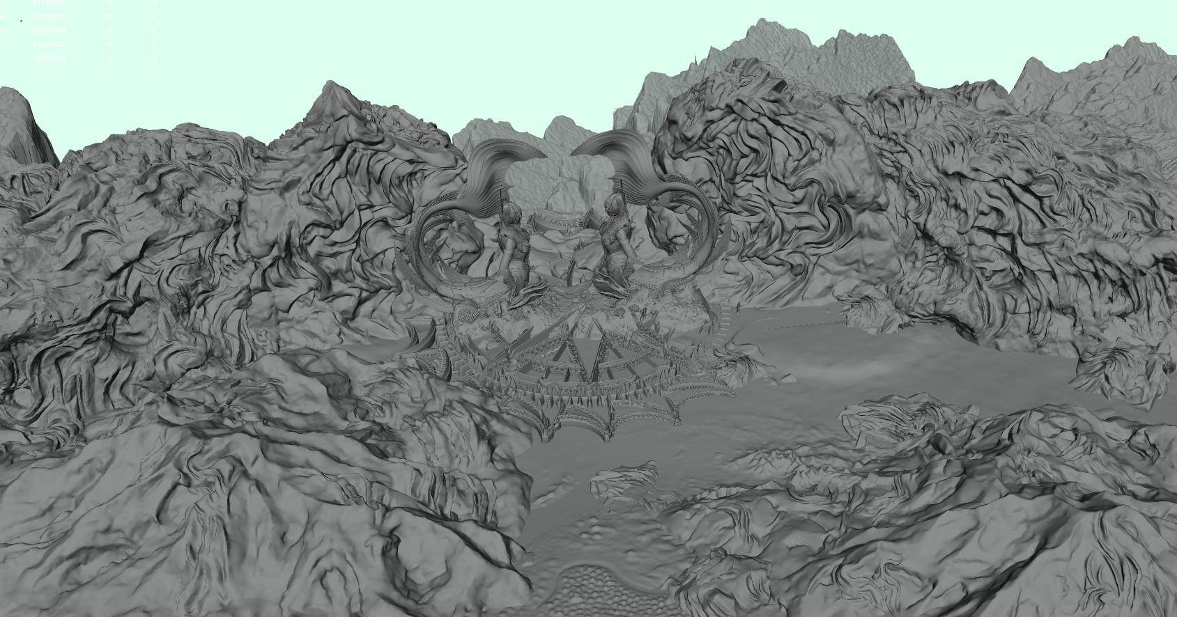 Mermaid gate Maya screengrab (that's a lot of polys).
