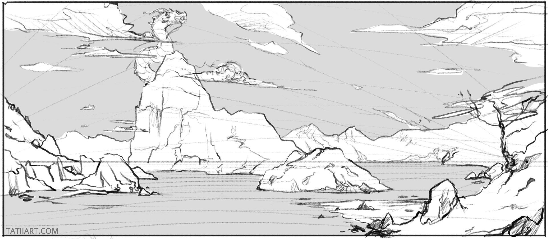 Tatii Lange Environment Concept Art Sketches