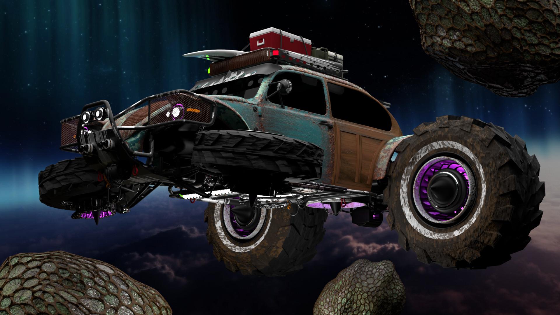 Baja Space Bug cruising asteroid belt