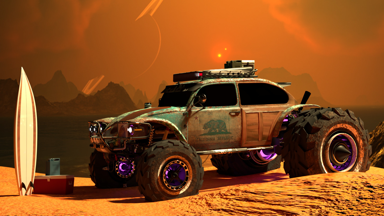 Baja Space Bug set up o n the beach of a distant planet