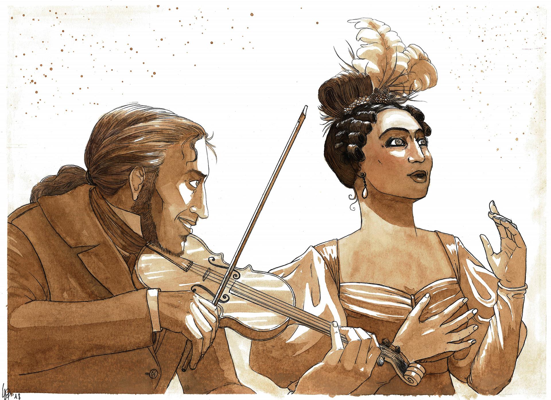 Paganini suona con la cantante Antonia Bianchi al teatro Falcone, nel Palazzo Reale di Genova.