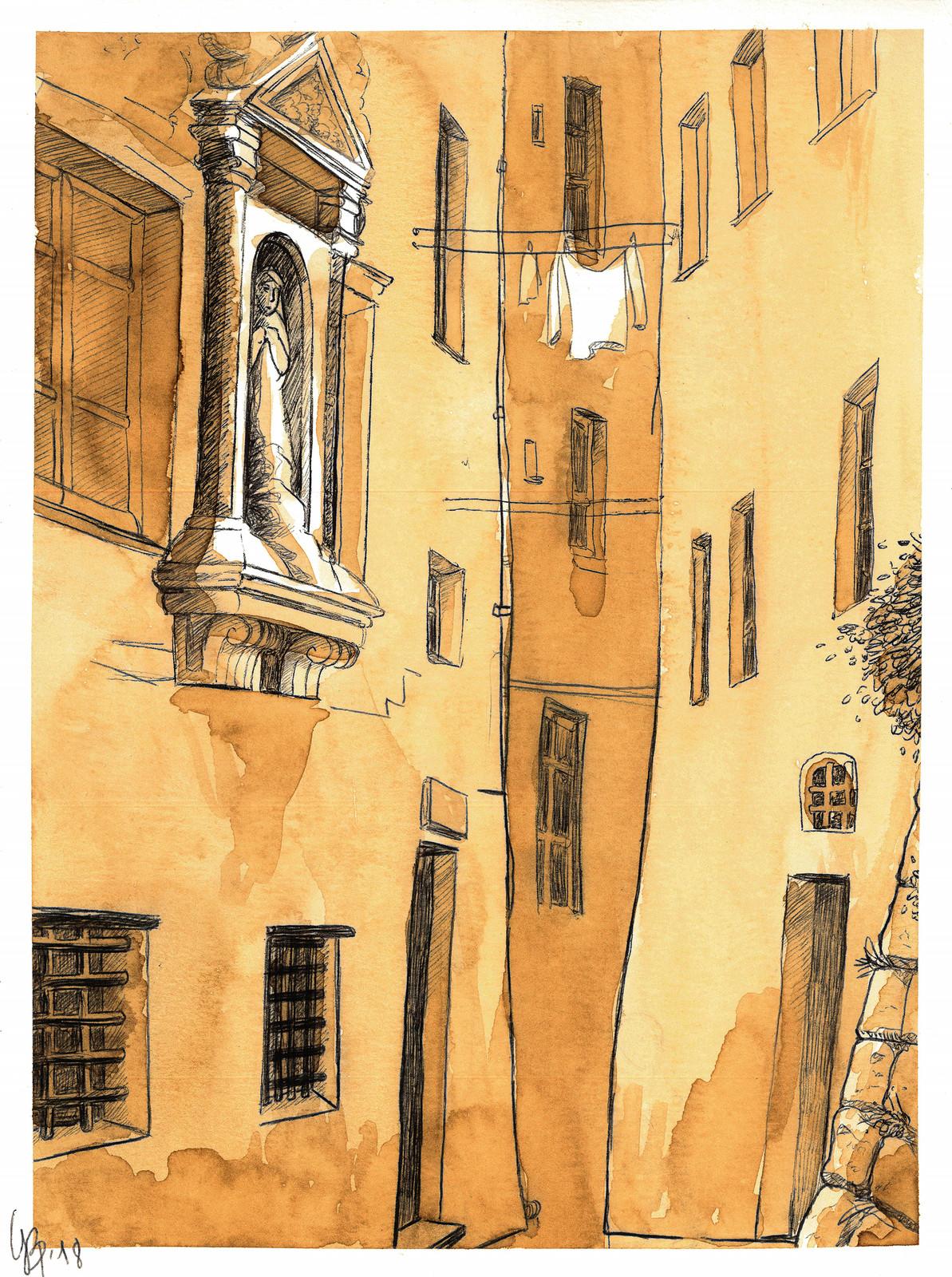 La casa natale di Paganini in Vico Gattamora, nel quartiere della ''Coellia''.