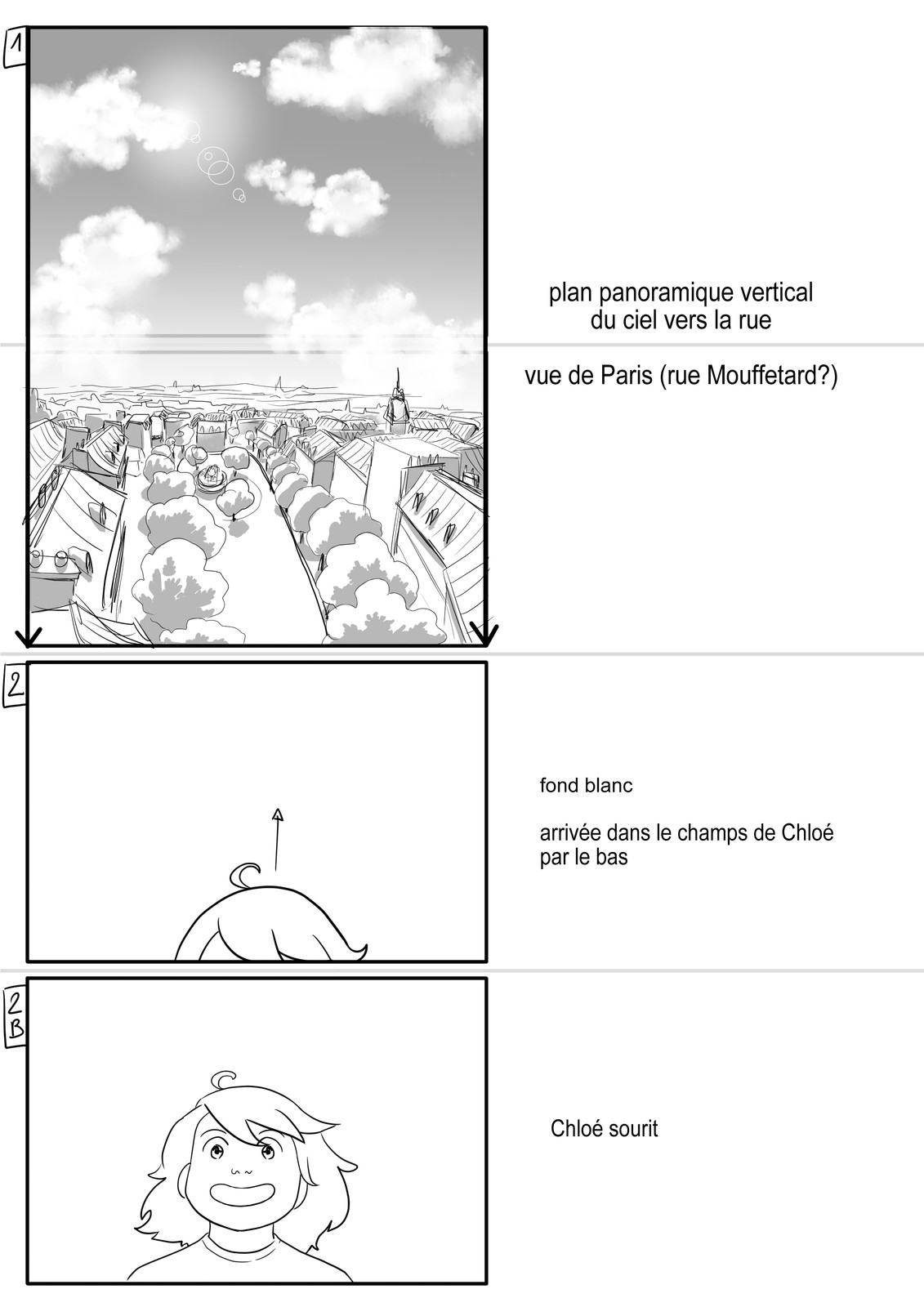 Storyboard for an animated Short - Page 1 - (In French)
