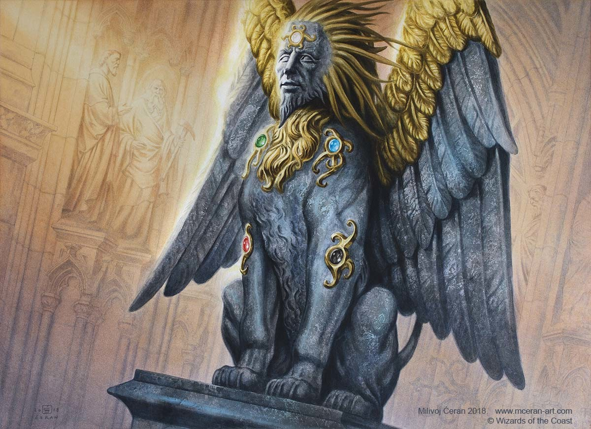 """""""Sphinx of the Guildpact"""" Milivoj Ćeran 2018. - 40 x 55 cm (15,7 x 21,5 inches) - acrylic on paper - © Wizards of the Coast - AD Cynthia Sheppard - Magic the Gathering, Ravnica Allegiance set."""