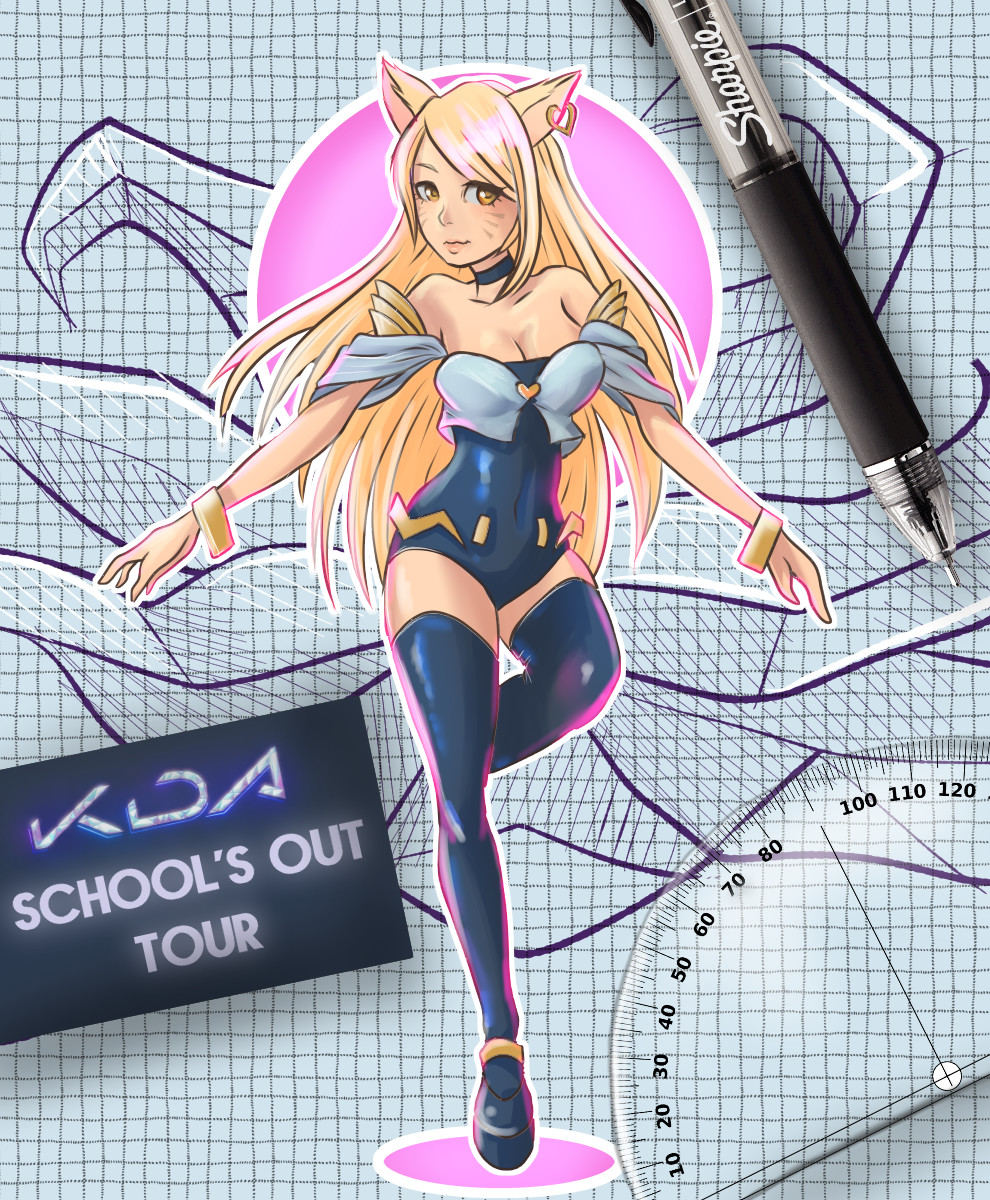 Original poster, which I wasn't happy with. I felt Ahri's clothing was a little too promiscuous to be part of a school-themed poster.