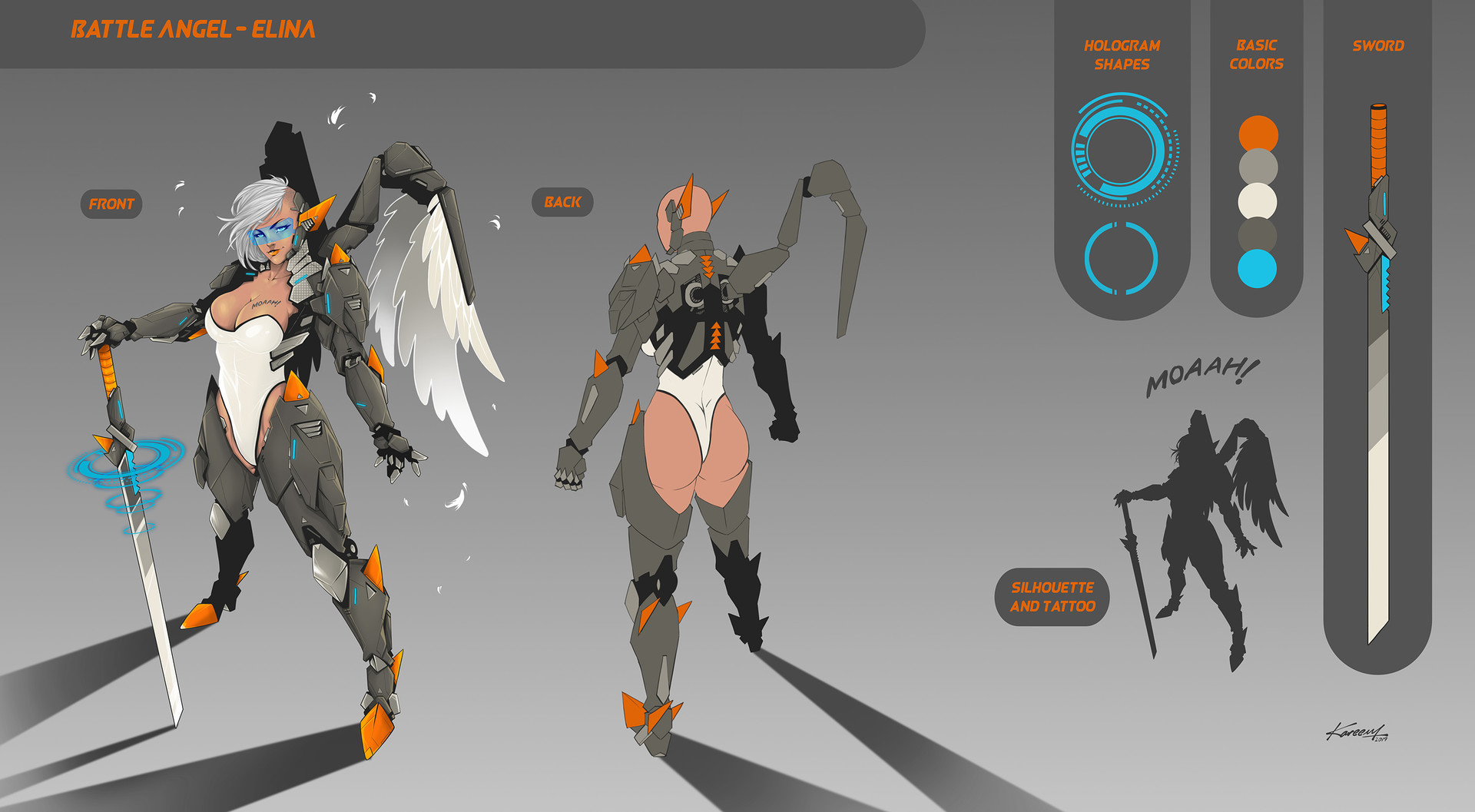 Character sheet for colors and equipment.