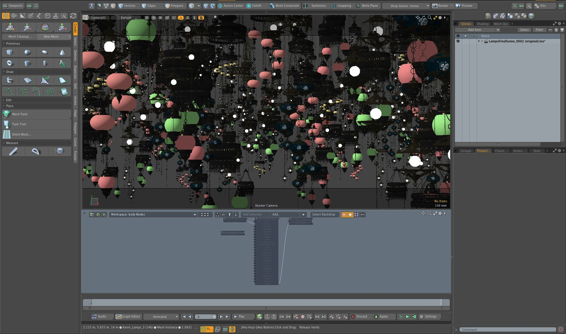 Modo was used to do the layout for the scene.