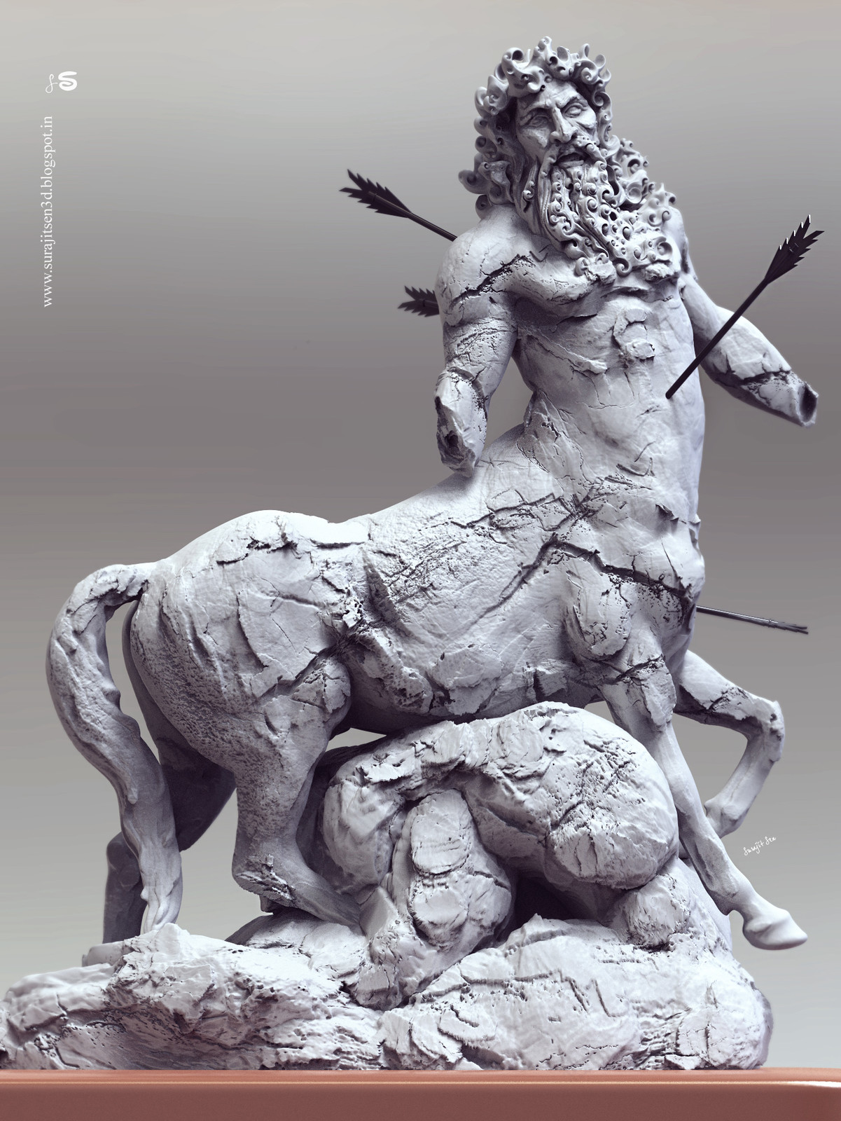Here is the updated version of one of my rough Digital sculpt study. .. Centaur, inspired from the ancient Art and sculpting. I like the hidden art in damaged idols and try to sculpt it digitally.