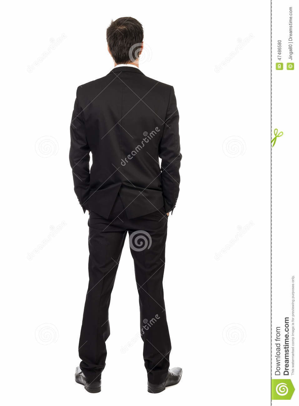 Davidson richetto boucher full body portrait young businessman back view hands pocket isolated over white background 47486580