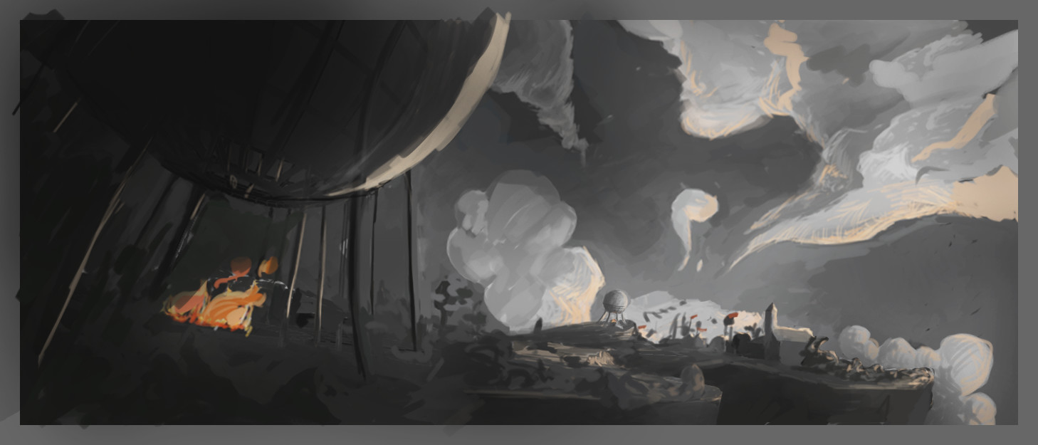 this is one of the first concepts I did for the shot. the background changed pretty much during lookdev.
