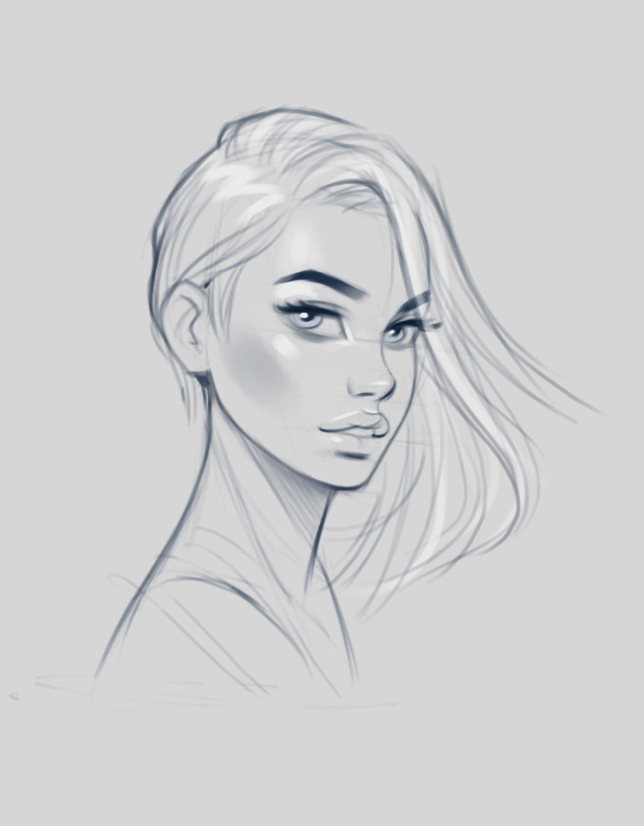 Artstation Female Faces Sketches Jan Unolt
