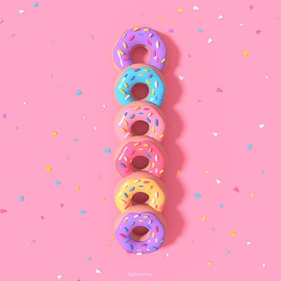 Tzuyu kao artstation tykcartoon colorful donuts in a row miniature 0121ss