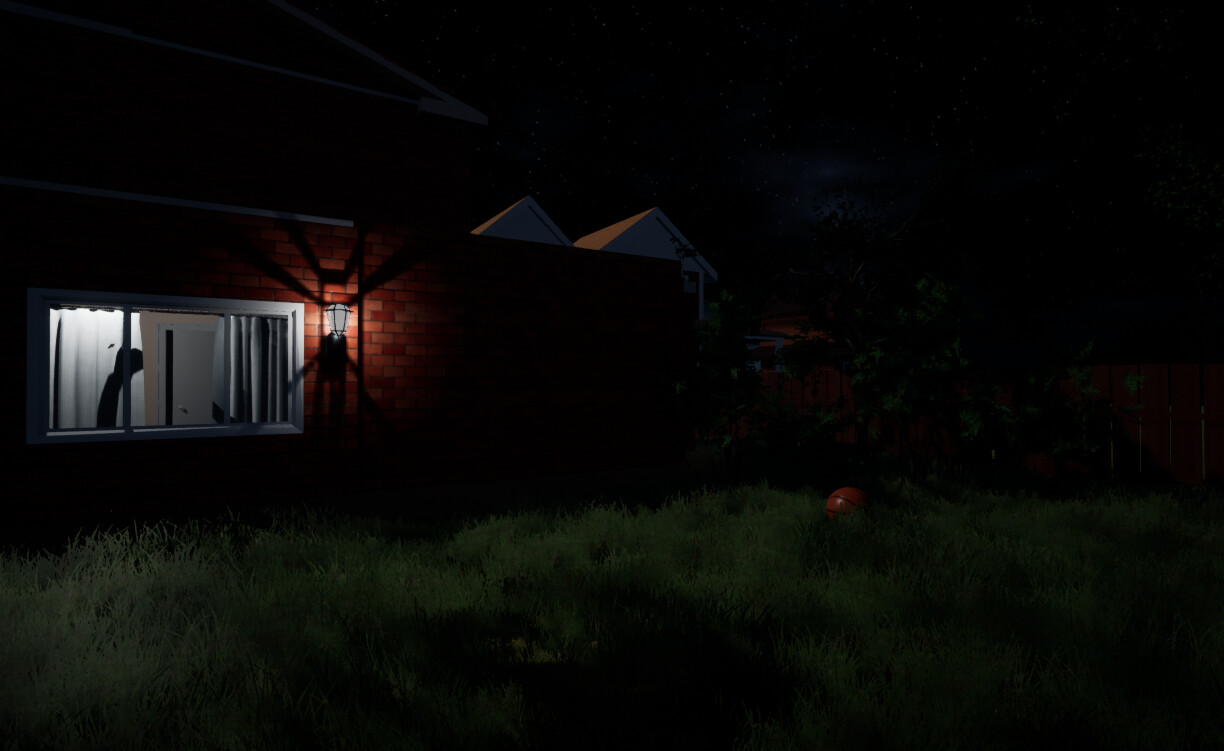 Players who pass the back door initially and proceed to the backyard can see that there is more inside the house to lure them in and also build tension.