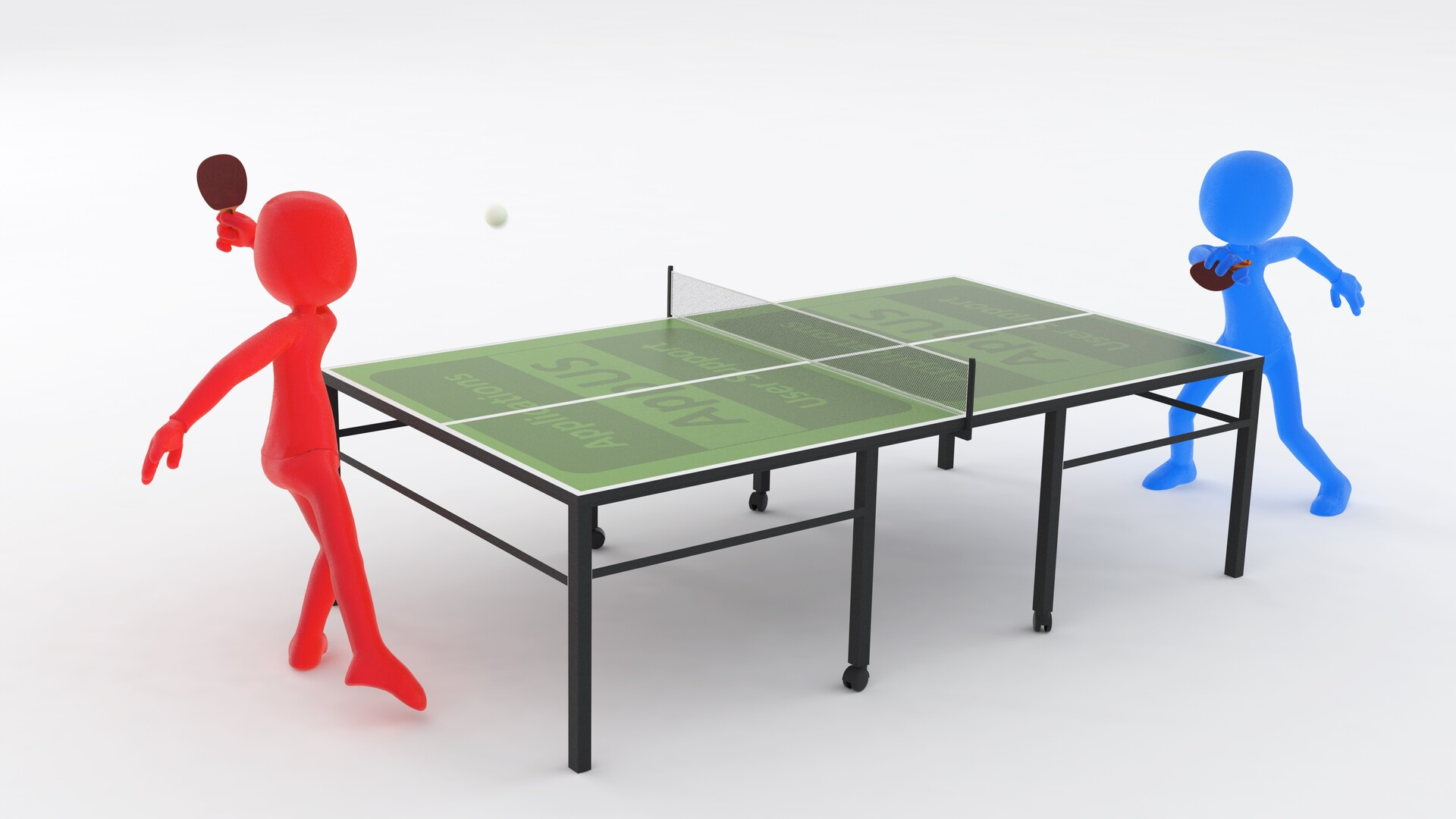 Blue gummy brand mascot and a red analogue using the client's table tennis facility - this image done as a moral effort for staff...