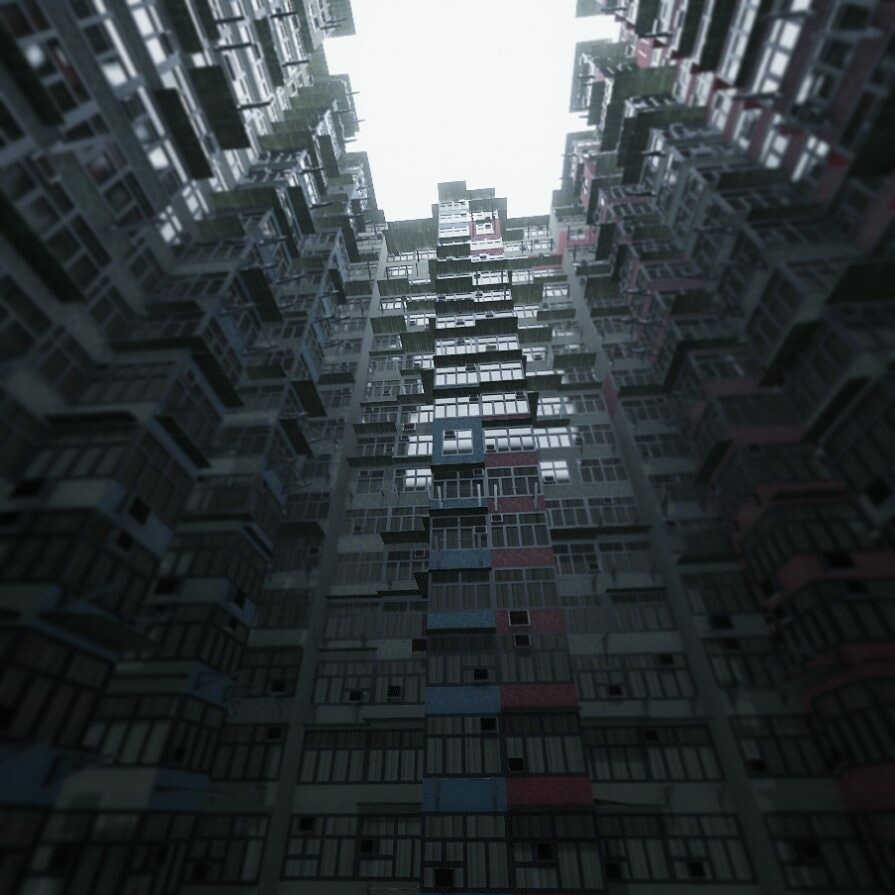A building created in Unity, inspired by Hong Kong's monster building