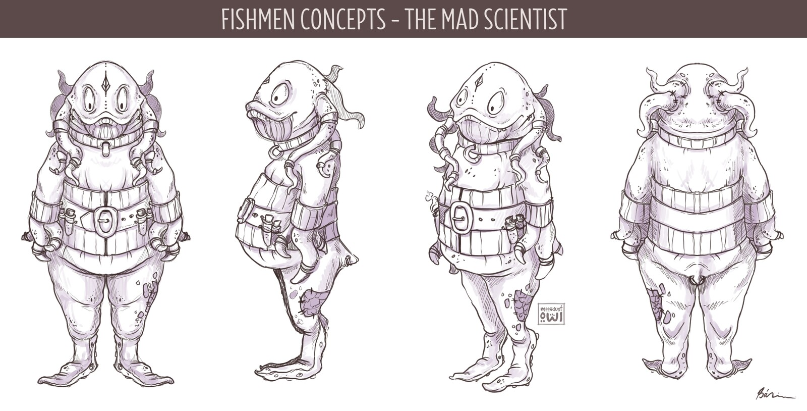 The mad scientist - mutated fishman concept with full turnaround - sketch