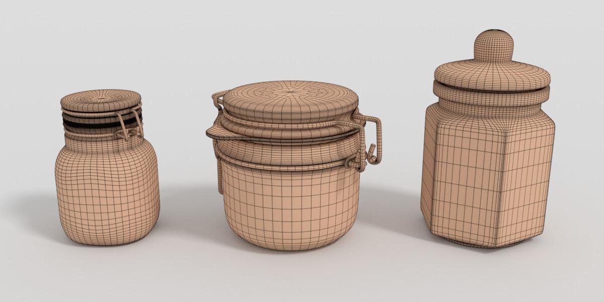 Wireframe Render of the Preservation Jars.