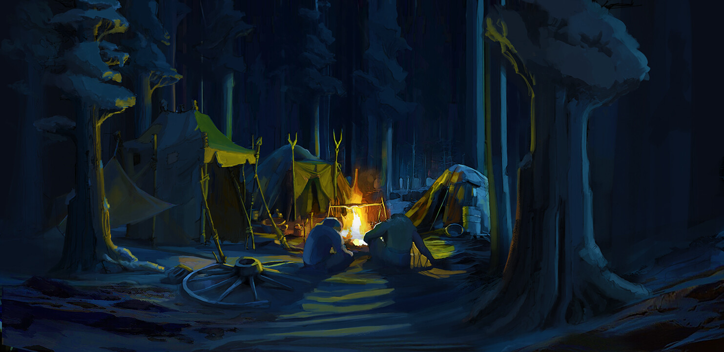 Campfire scene concept | Digital Painting in photoshop