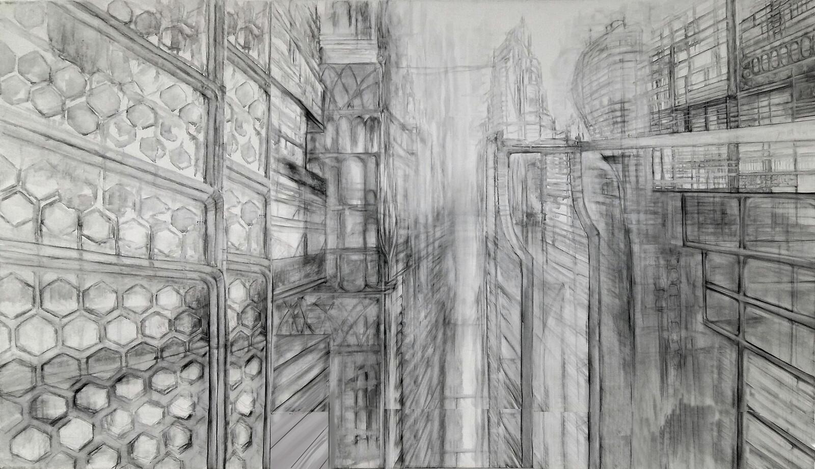 line work 1 (canvas, 155 x 94 cm) - digitalized