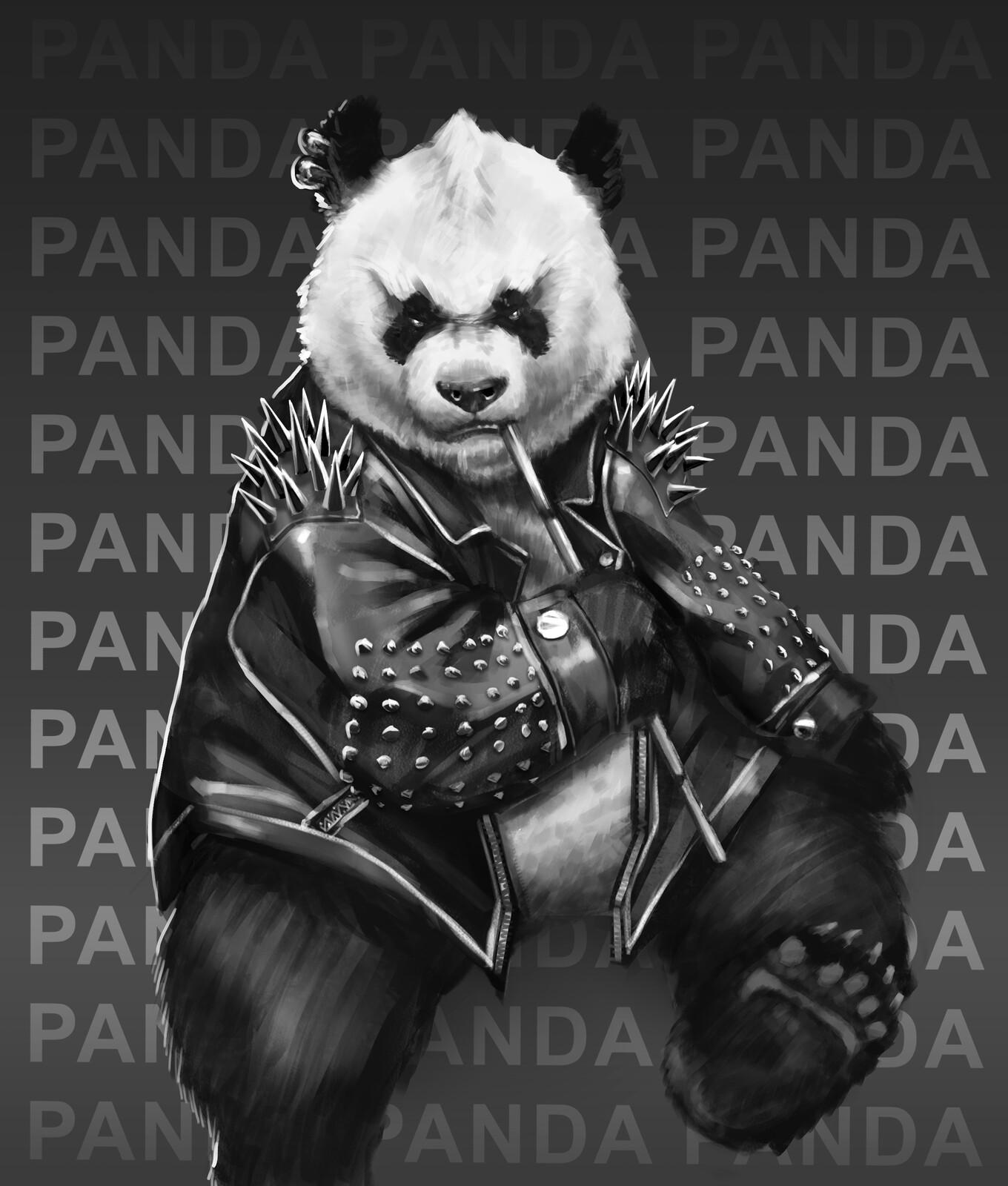 Badass panda eating bamboo