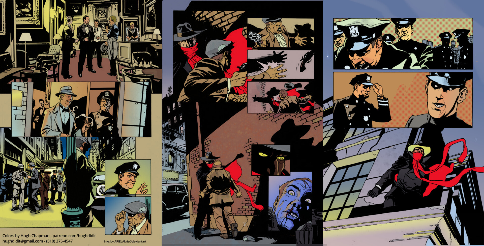 """Sequential Comic Book Pages """"The Shadow"""" Ink by stevescott Colors by me  Hugh Chapman hughdidit@gmail.com (510) 497-1957"""