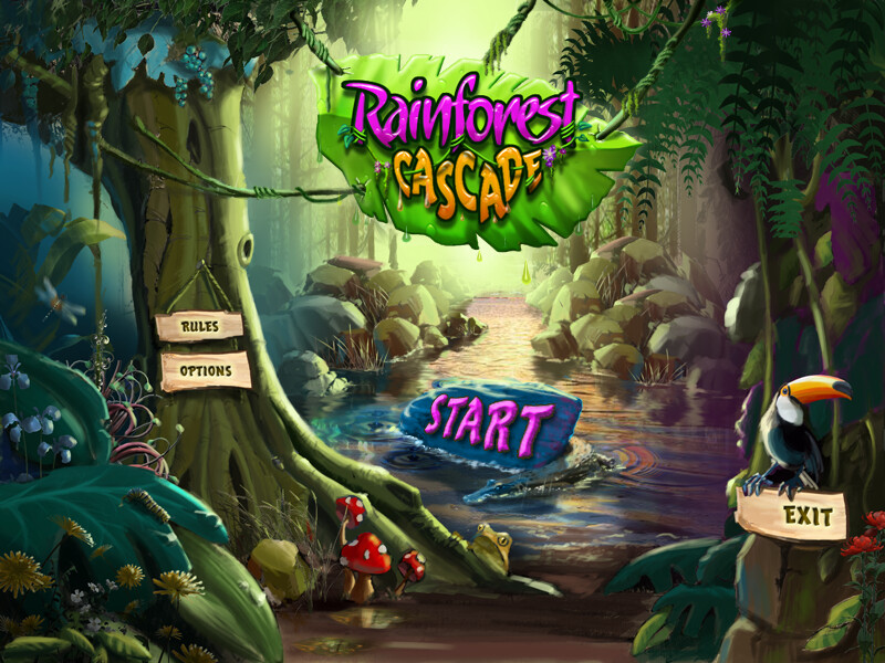 Rainforest Cascade | Main Menu screen