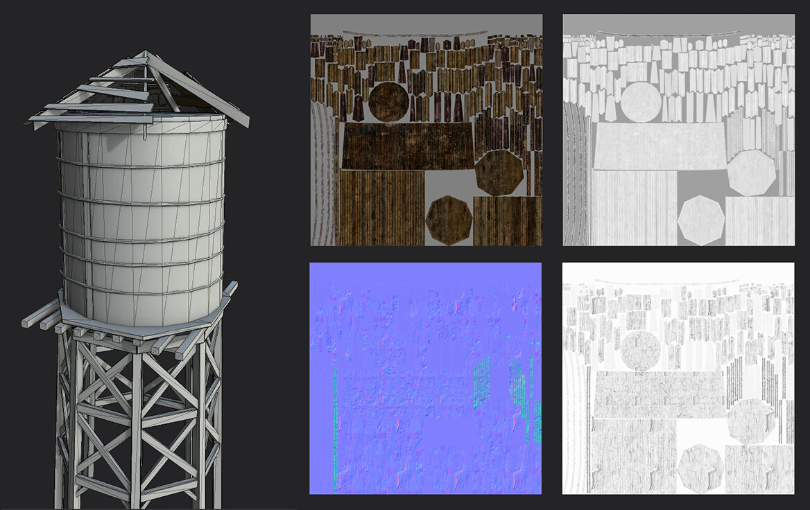 The Water Tower | The tower model and texture maps. Instead of these wood plank having unique UVs, I could have overlap some. But I've had the budget to do it this way, so why not?