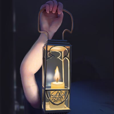 Hand with a lamp
