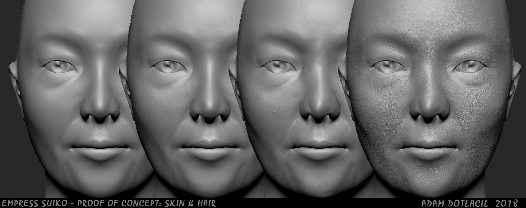 Zbrush layers of skin alterations  (Base / Random noise / Asymmetry details / Tertiary details; pores and wrinkles)