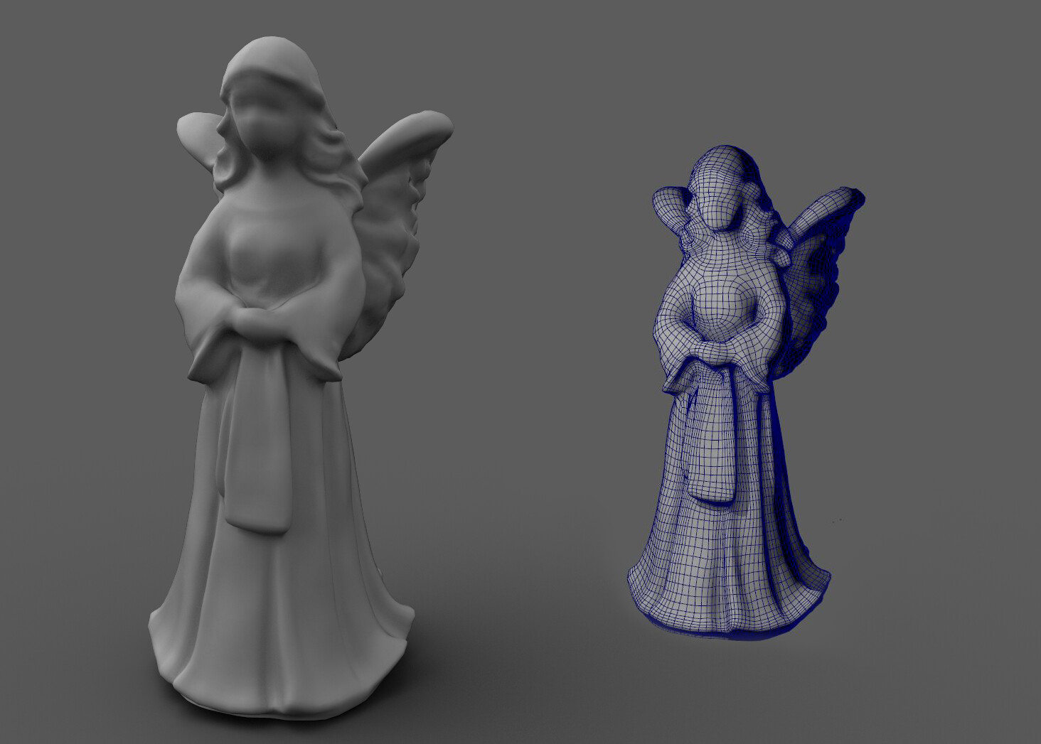 Angel Statue | wireframe after decimating the original in ZBrush